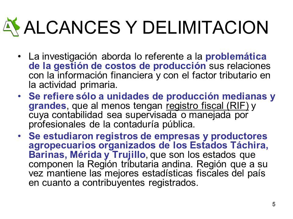 5 ALCANCES Y DELIMITACION La investigación aborda lo referente a la problemática de la gestión de costos de producción sus relaciones con la informaci