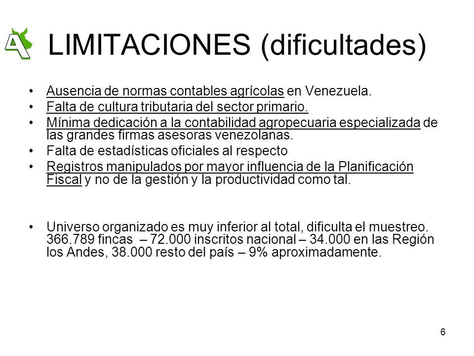 6 LIMITACIONES (dificultades) Ausencia de normas contables agrícolas en Venezuela. Falta de cultura tributaria del sector primario. Mínima dedicación
