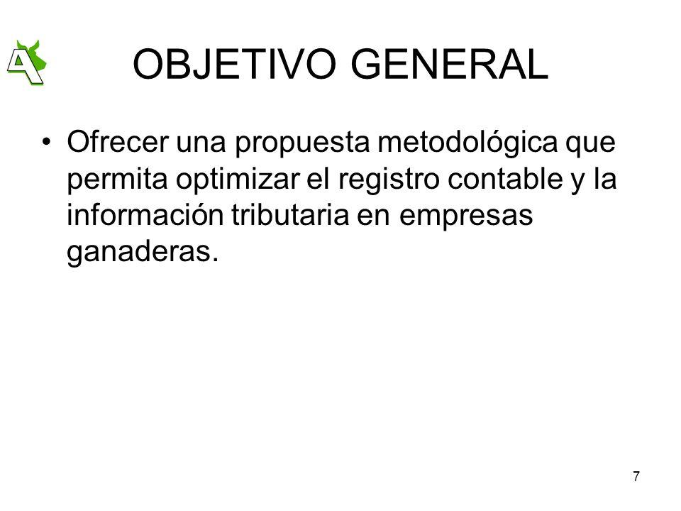 7 OBJETIVO GENERAL Ofrecer una propuesta metodológica que permita optimizar el registro contable y la información tributaria en empresas ganaderas.