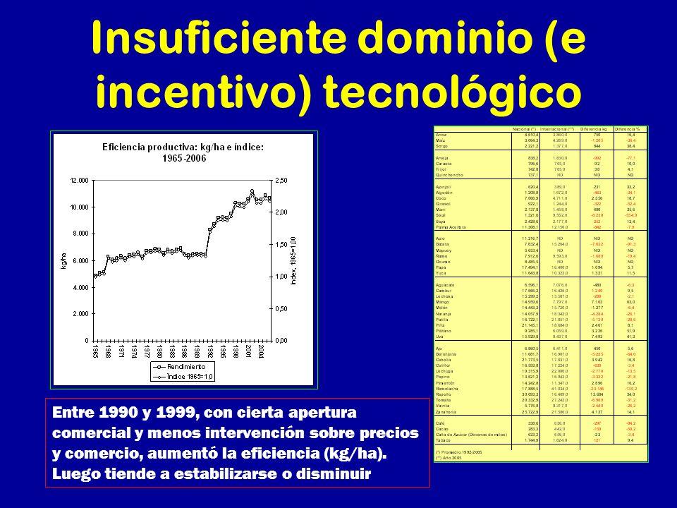 Insuficiente dominio (e incentivo) tecnológico Entre 1990 y 1999, con cierta apertura comercial y menos intervención sobre precios y comercio, aumentó