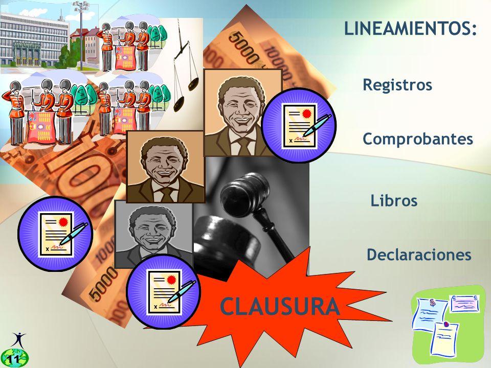 11 LINEAMIENTOS: Registros Comprobantes Libros Declaraciones CLAUSURA