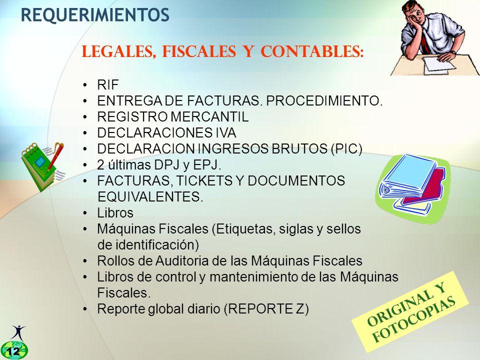 12 REQUERIMIENTOS LEGALES, FISCALES Y CONTABLES: RIF ENTREGA DE FACTURAS.