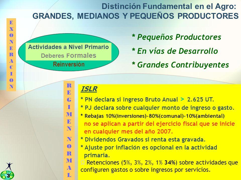 3 Distinción Fundamental en el Agro: GRANDES, MEDIANOS Y PEQUEÑOS PRODUCTORES * Pequeños Productores * En vías de Desarrollo * Grandes Contribuyentes EXONERACIONEXONERACION REGIMENNORMALREGIMENNORMAL ISLR * PN declara si Ingreso Bruto Anual > 2.625 UT.