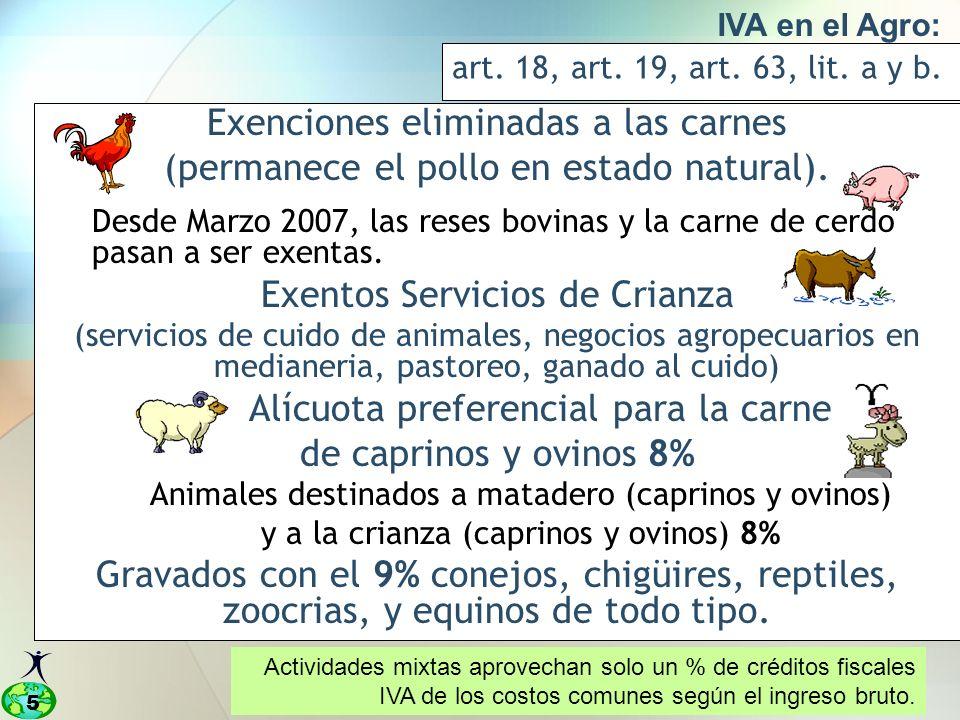 5 IVA en el Agro: art.18, art. 19, art. 63, lit. a y b.