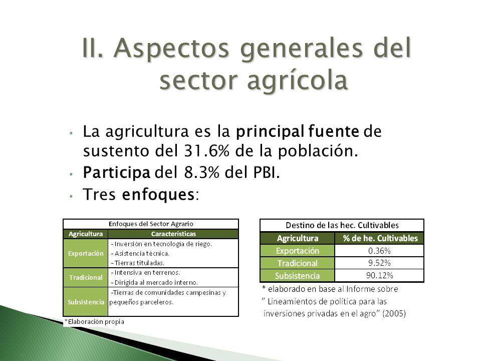II. Aspectos generales del sector agrícola La agricultura es la principal fuente de sustento del 31.6% de la población. Participa del 8.3% del PBI. Tr