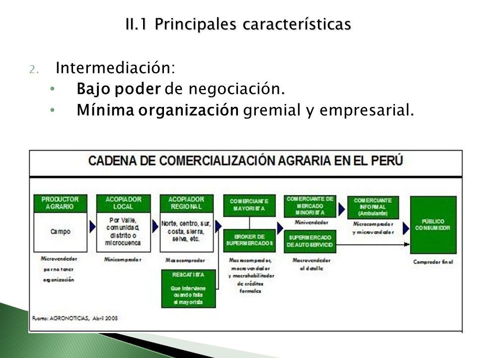 II.1 Principales características 2. Intermediación: Bajo poder de negociación. Mínima organización gremial y empresarial.