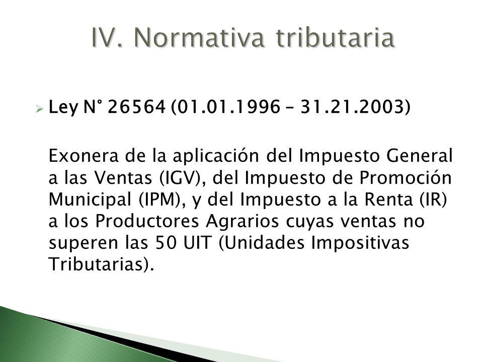 Ley N° 26564 (01.01.1996 – 31.21.2003) Exonera de la aplicación del Impuesto General a las Ventas (IGV), del Impuesto de Promoción Municipal (IPM), y
