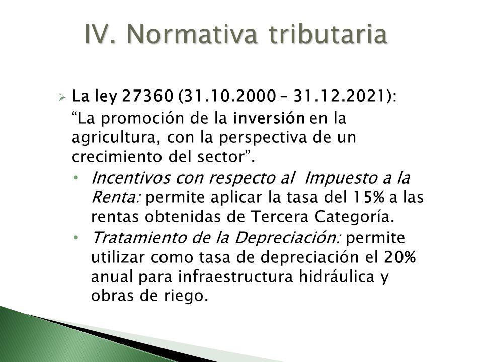 La ley 27360 (31.10.2000 – 31.12.2021): La promoción de la inversión en la agricultura, con la perspectiva de un crecimiento del sector. Incentivos co