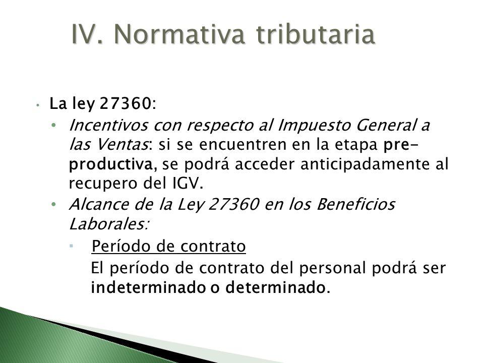 La ley 27360: Incentivos con respecto al Impuesto General a las Ventas: si se encuentren en la etapa pre- productiva, se podrá acceder anticipadamente