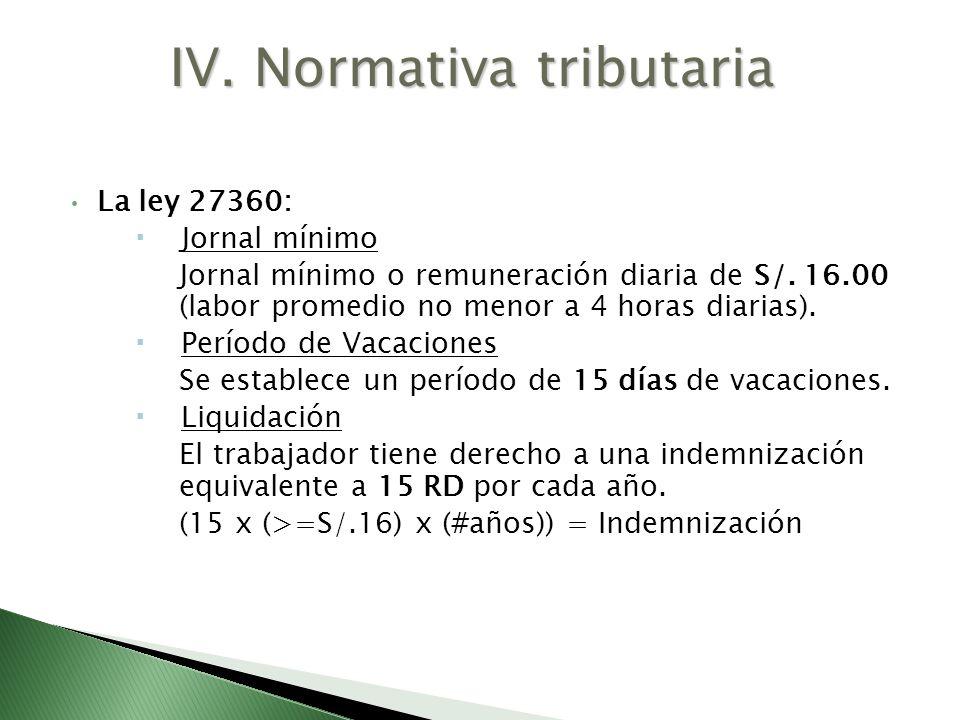 La ley 27360: Jornal mínimo Jornal mínimo o remuneración diaria de S/. 16.00 (labor promedio no menor a 4 horas diarias). Período de Vacaciones Se est