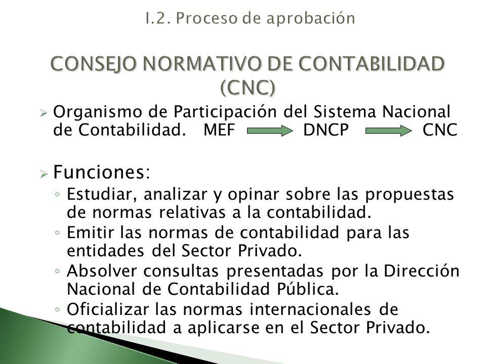 Es presidido por un funcionario nombrado por el MEF y es integrado por un representante de cada una de las entidades siguientes: - Un (1) representante del BCRP; - Un (1) representante de la CONASEV; - Un (1) representante de la SBS; - Un (1) representante de la SUNAT; - Un (1) representante del INEI; - Un (1) representante de la DNCP; - Un (1) representante de la JDDCCPP del Perú; - Un representante de las Facultades de Ciencias de la Contabilidad de las universidades del país, a propuesta de la Asamblea de Rectores; - Un (1) representante de la Confederación Nacional de Instituciones Empresariales Privadas.