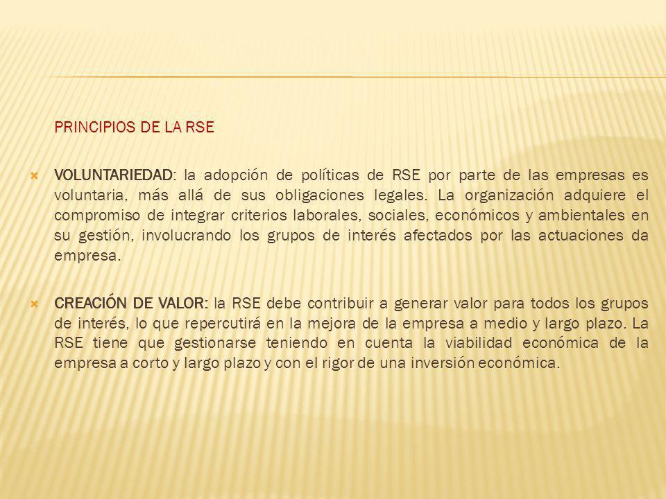 PRINCIPIOS DE LA RSE VOLUNTARIEDAD: la adopción de políticas de RSE por parte de las empresas es voluntaria, más allá de sus obligaciones legales. La