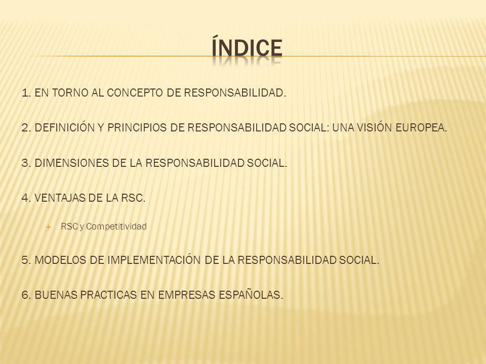1. EN TORNO AL CONCEPTO DE RESPONSABILIDAD. 2. DEFINICIÓN Y PRINCIPIOS DE RESPONSABILIDAD SOCIAL: UNA VISIÓN EUROPEA. 3. DIMENSIONES DE LA RESPONSABIL