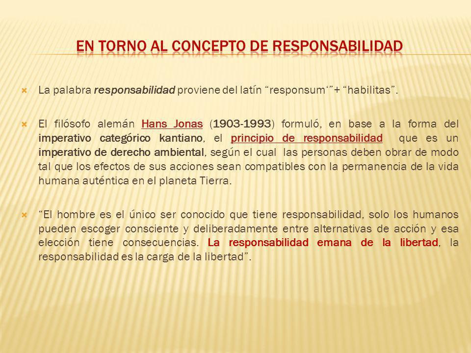 La palabra responsabilidad proviene del latín responsum+ habilitas. El filósofo alemán Hans Jonas (1903-1993) formuló, en base a la forma del imperati