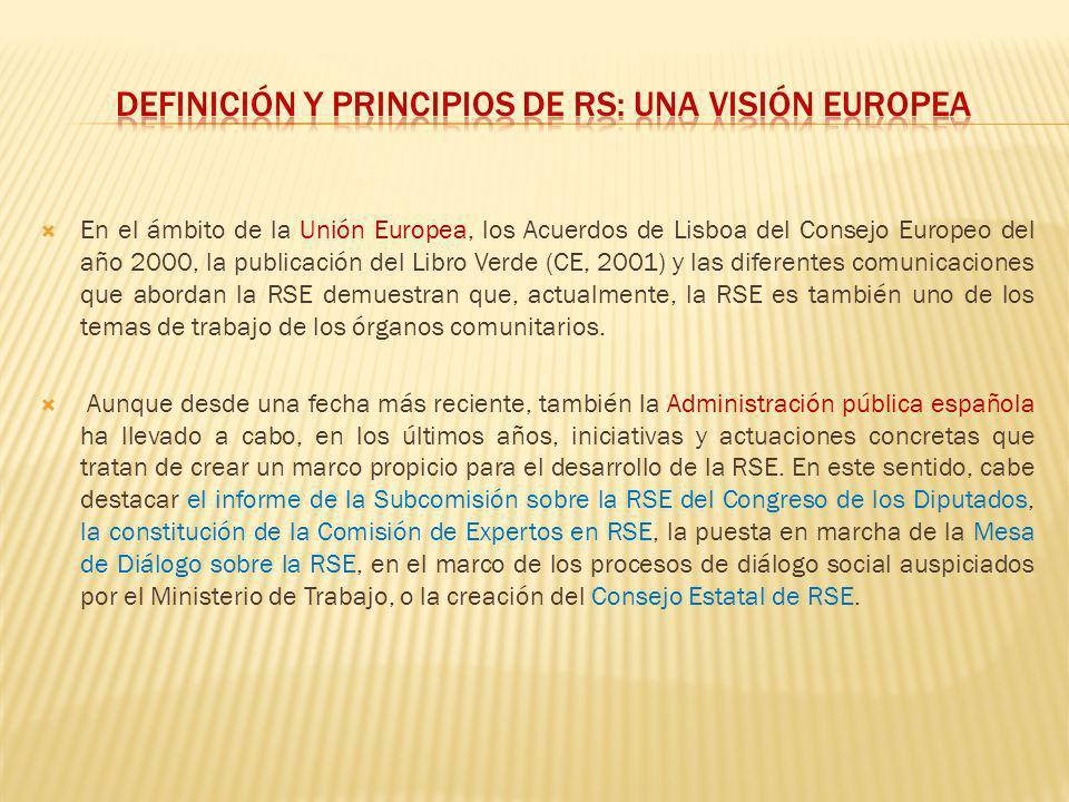 En el ámbito de la Unión Europea, los Acuerdos de Lisboa del Consejo Europeo del año 2000, la publicación del Libro Verde (CE, 2001) y las diferentes