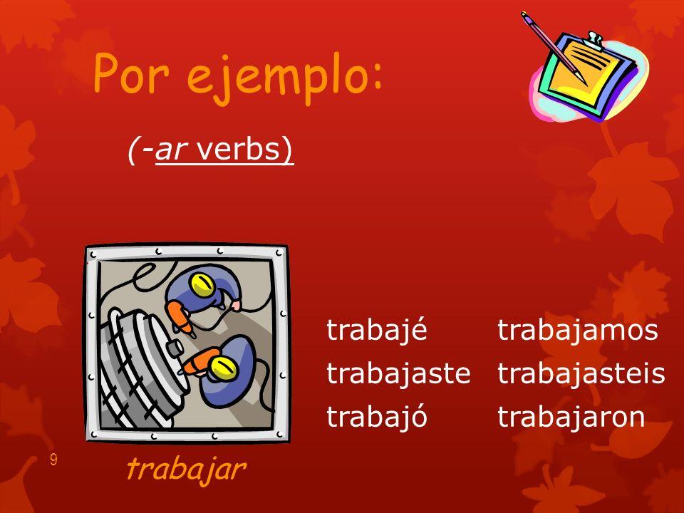 (-ar verbs) hablé hablaste habló hablamos hablasteis hablaron 8 Por ejemplo: hablar
