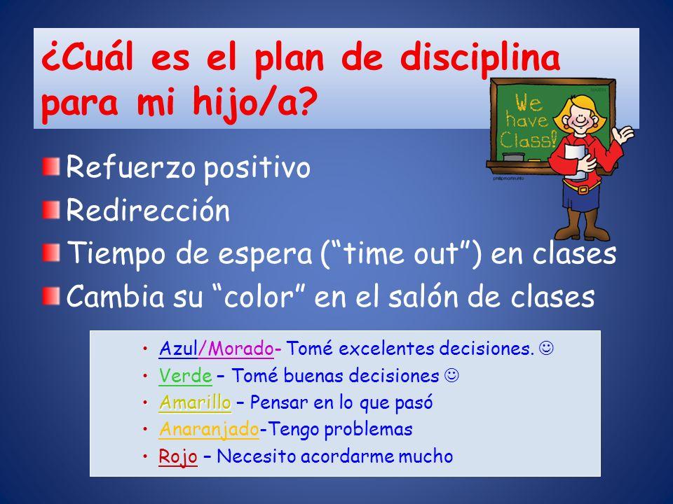 ¿Cuál es el plan de disciplina para mi hijo/a? Refuerzo positivo Redirección Tiempo de espera (time out) en clases Cambia su color en el salón de clas