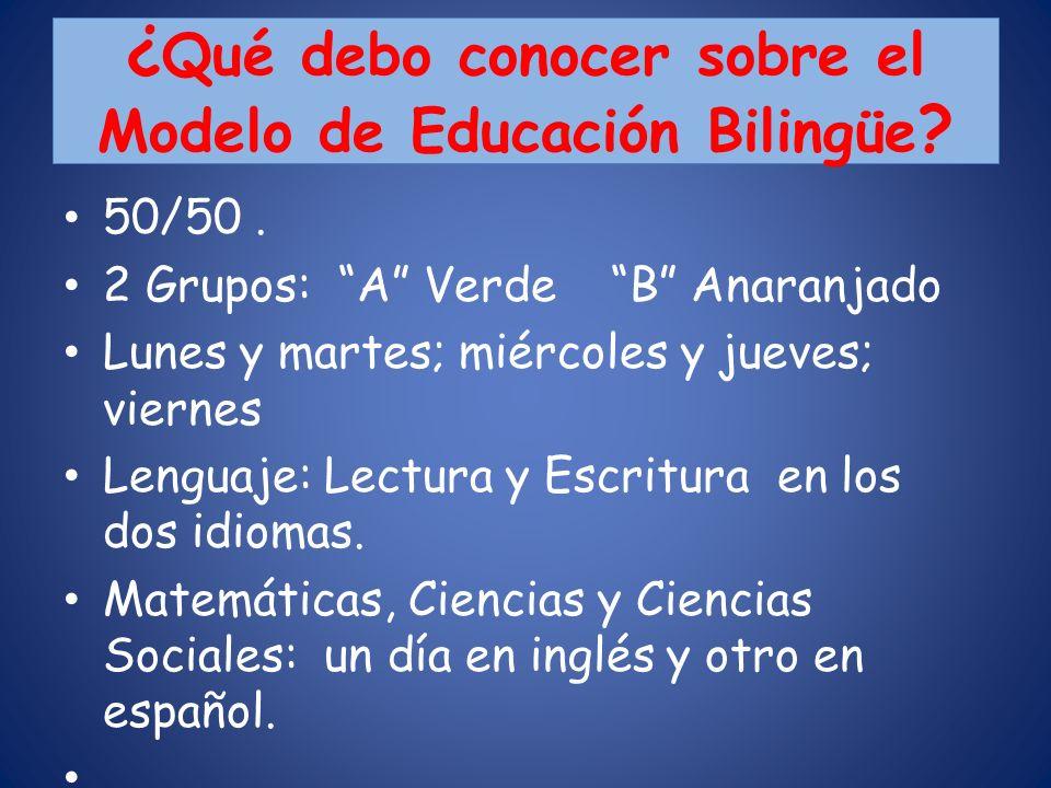 ¿ Qué debo conocer sobre el Modelo de Educación Bilingüe ? 50/50. 2 Grupos: A Verde B Anaranjado Lunes y martes; miércoles y jueves; viernes Lenguaje: