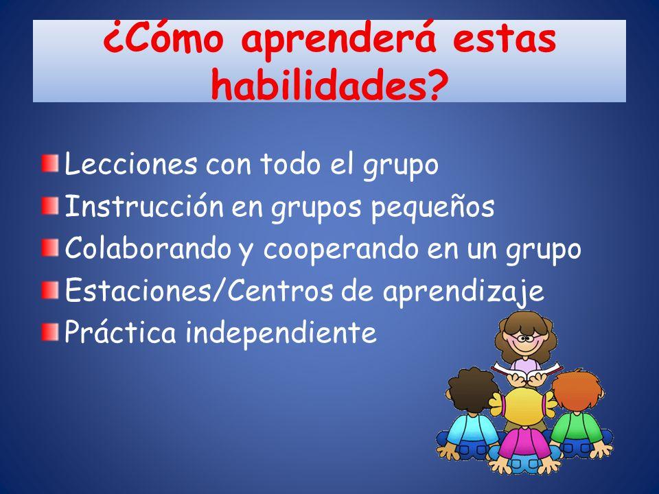 ¿Cómo aprenderá estas habilidades? Lecciones con todo el grupo Instrucción en grupos pequeños Colaborando y cooperando en un grupo Estaciones/Centros