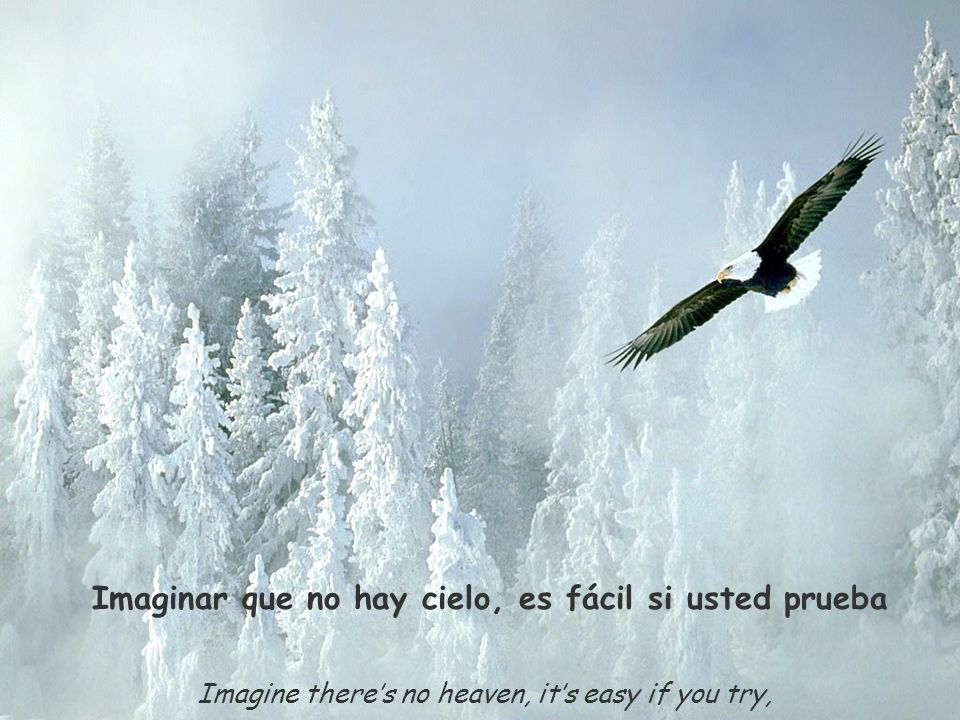Imagine theres no heaven, its easy if you try, Imaginar que no hay cielo, es fácil si usted prueba