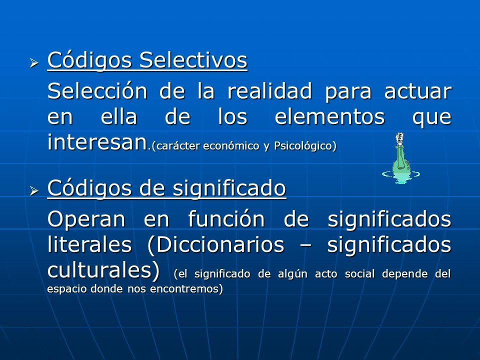 Códigos Selectivos Códigos Selectivos Selección de la realidad para actuar en ella de los elementos que interesan.(carácter económico y Psicológico) C
