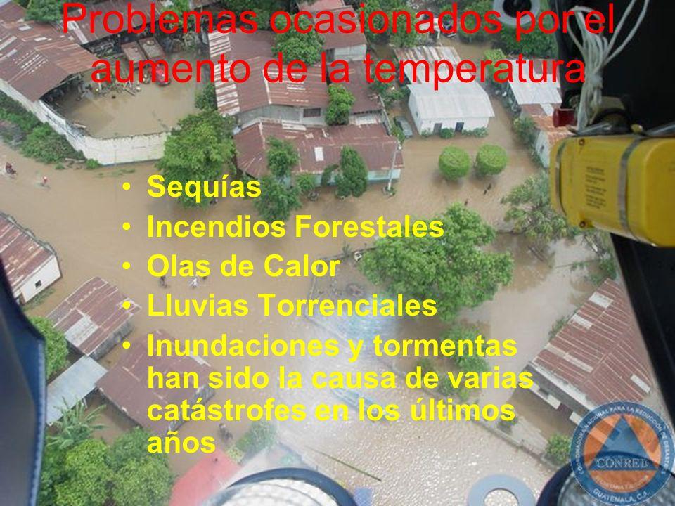 Problemas ocasionados por el aumento de la temperatura Sequías Incendios Forestales Olas de Calor Lluvias Torrenciales Inundaciones y tormentas han si