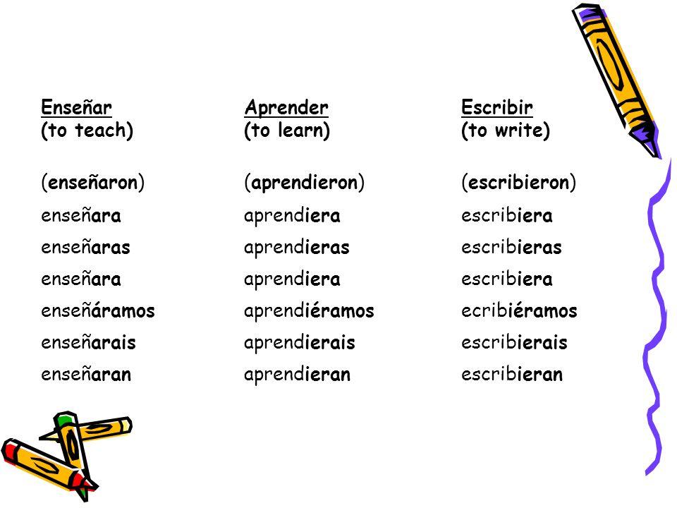Enseñar (to teach) Aprender (to learn) Escribir (to write) (enseñaron)(aprendieron)(escribieron) enseñaraaprendieraescribiera enseñarasaprendierasescribieras enseñaraaprendieraescribiera enseñáramosaprendiéramosecribiéramos enseñaraisaprendieraisescribierais enseñaranaprendieranescribieran