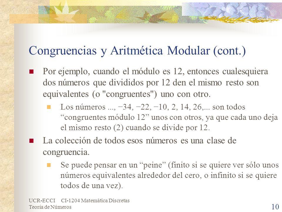 UCR-ECCI CI-1204 Matemática Discretas Teoría de Números Congruencias y Aritmética Modular (cont.) Por ejemplo, cuando el módulo es 12, entonces cuales