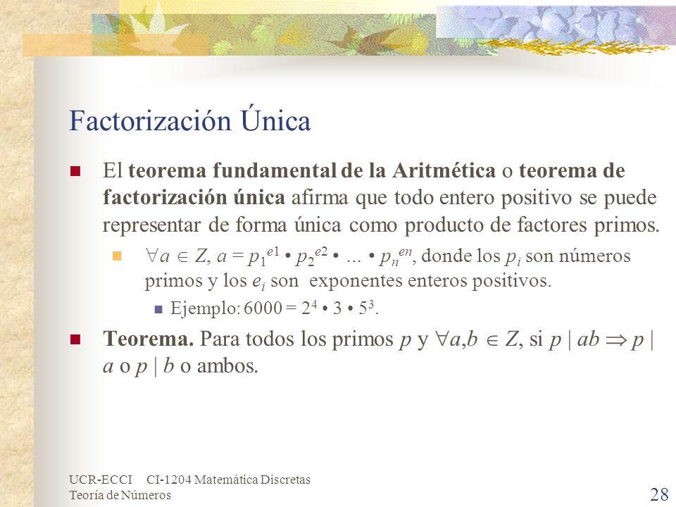 UCR-ECCI CI-1204 Matemática Discretas Teoría de Números Factorización Única El teorema fundamental de la Aritmética o teorema de factorización única a