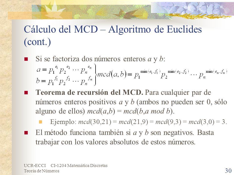 UCR-ECCI CI-1204 Matemática Discretas Teoría de Números Cálculo del MCD – Algoritmo de Euclides (cont.) Si se factoriza dos números enteros a y b: Teo