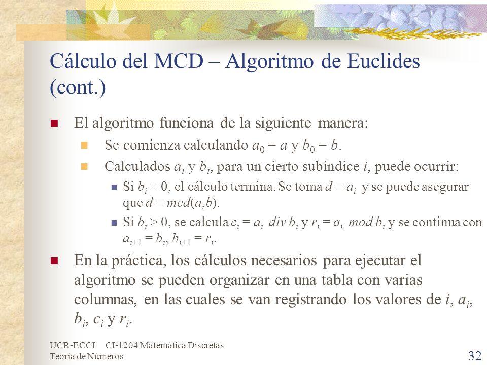 UCR-ECCI CI-1204 Matemática Discretas Teoría de Números Cálculo del MCD – Algoritmo de Euclides (cont.) El algoritmo funciona de la siguiente manera: