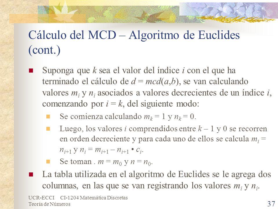 UCR-ECCI CI-1204 Matemática Discretas Teoría de Números Cálculo del MCD – Algoritmo de Euclides (cont.) Suponga que k sea el valor del índice i con el