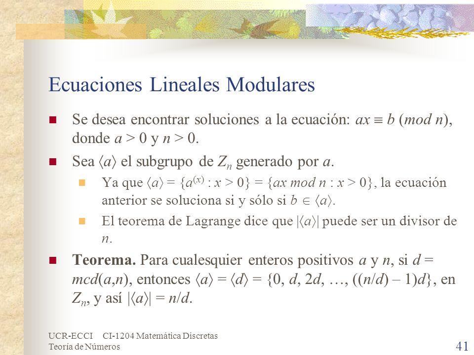 UCR-ECCI CI-1204 Matemática Discretas Teoría de Números Ecuaciones Lineales Modulares Se desea encontrar soluciones a la ecuación: ax b (mod n), donde