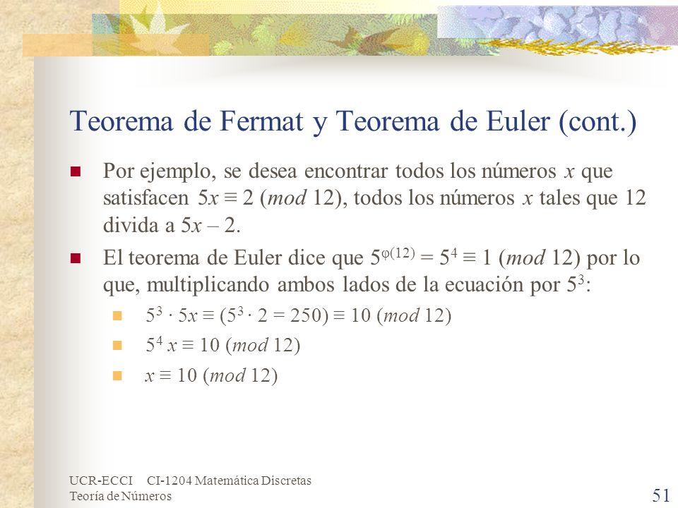 UCR-ECCI CI-1204 Matemática Discretas Teoría de Números Teorema de Fermat y Teorema de Euler (cont.) Por ejemplo, se desea encontrar todos los números