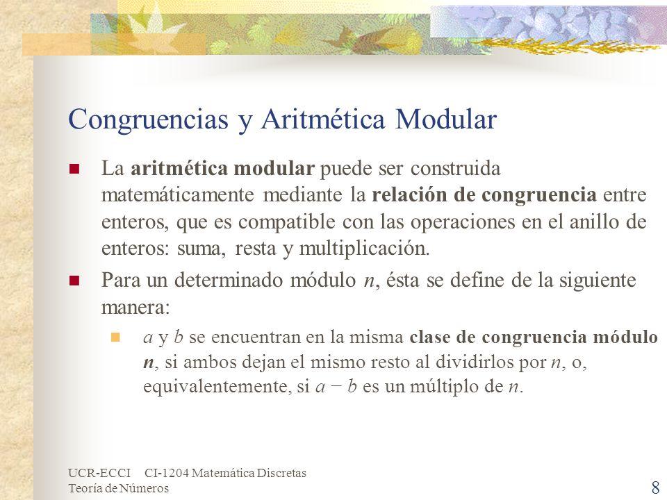 UCR-ECCI CI-1204 Matemática Discretas Teoría de Números Congruencias y Aritmética Modular (cont.) Esta relación se puede expresar cómodamente utilizando la notación de Gauss: a b (mod n) ó a n b.
