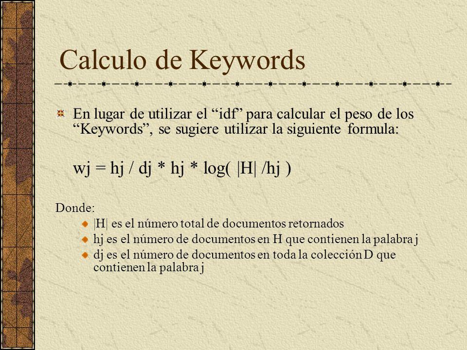 Calculo de Keywords En lugar de utilizar el idf para calcular el peso de los Keywords, se sugiere utilizar la siguiente formula: wj = hj / dj * hj * log( |H| /hj ) Donde: |H| es el número total de documentos retornados hj es el número de documentos en H que contienen la palabra j dj es el número de documentos en toda la colección D que contienen la palabra j