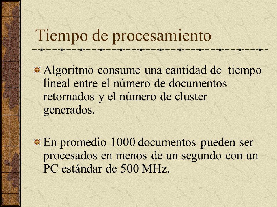 Tiempo de procesamiento Algoritmo consume una cantidad de tiempo lineal entre el número de documentos retornados y el número de cluster generados.