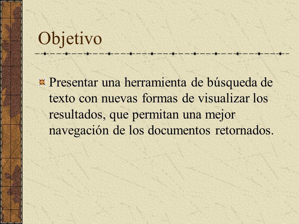 Objetivo Presentar una herramienta de búsqueda de texto con nuevas formas de visualizar los resultados, que permitan una mejor navegación de los documentos retornados.