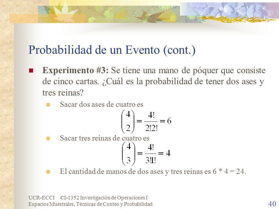 UCR-ECCI CI-1352 Investigación de Operaciones I Espacios Muestrales, Técnicas de Conteo y Probabilidad 40 Probabilidad de un Evento (cont.) Experiment