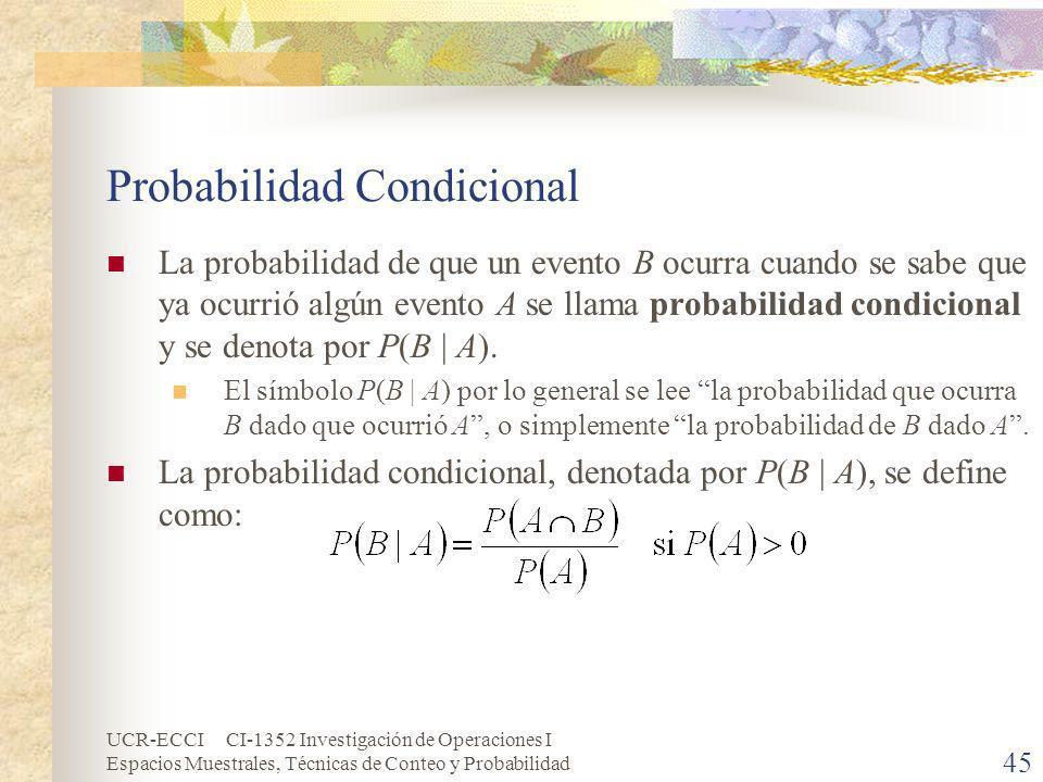 UCR-ECCI CI-1352 Investigación de Operaciones I Espacios Muestrales, Técnicas de Conteo y Probabilidad 45 Probabilidad Condicional La probabilidad de