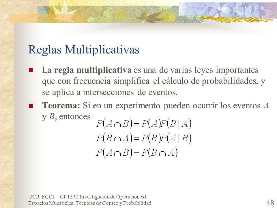 UCR-ECCI CI-1352 Investigación de Operaciones I Espacios Muestrales, Técnicas de Conteo y Probabilidad 48 Reglas Multiplicativas La regla multiplicati