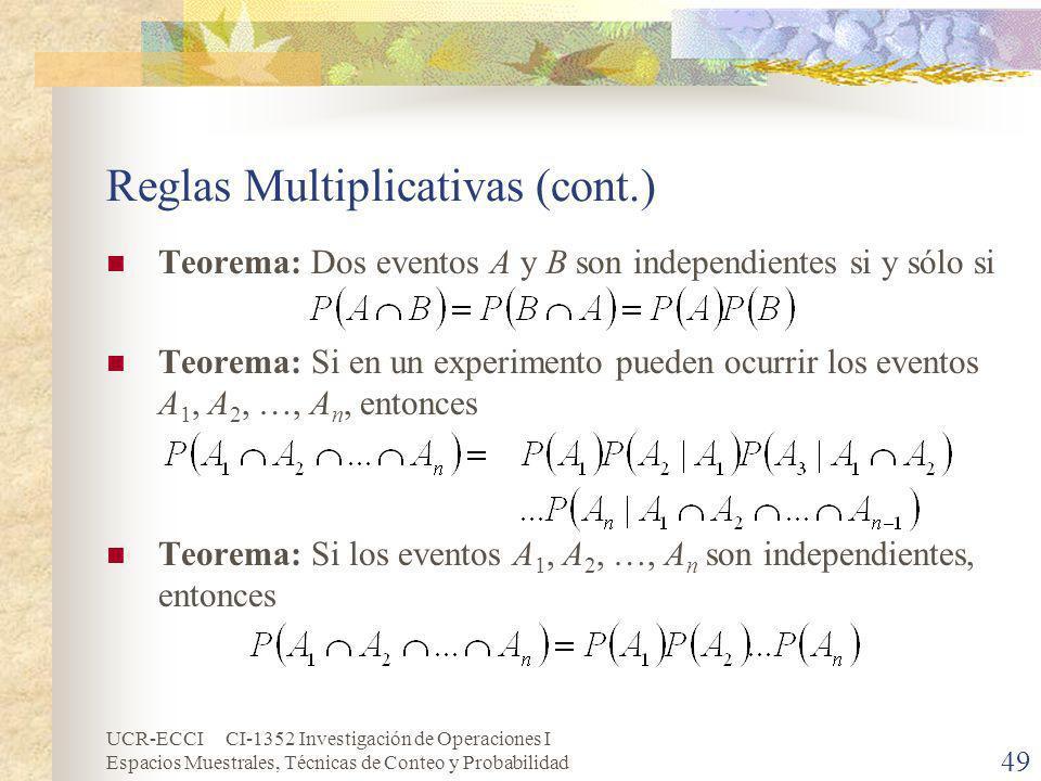 UCR-ECCI CI-1352 Investigación de Operaciones I Espacios Muestrales, Técnicas de Conteo y Probabilidad 49 Reglas Multiplicativas (cont.) Teorema: Dos