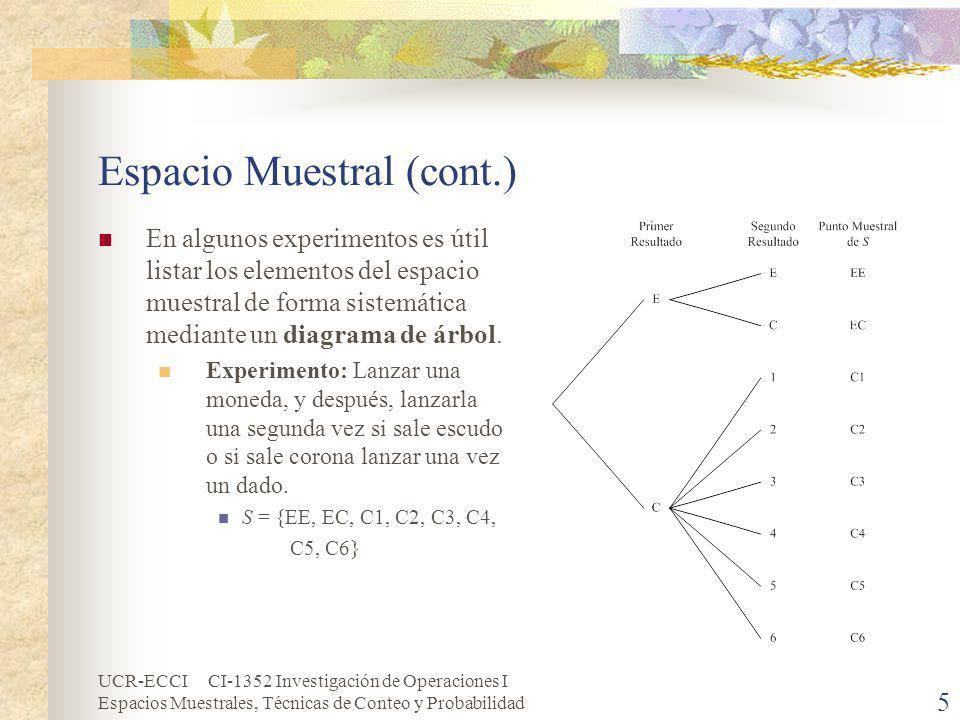 UCR-ECCI CI-1352 Investigación de Operaciones I Espacios Muestrales, Técnicas de Conteo y Probabilidad 5 Espacio Muestral (cont.) En algunos experimen