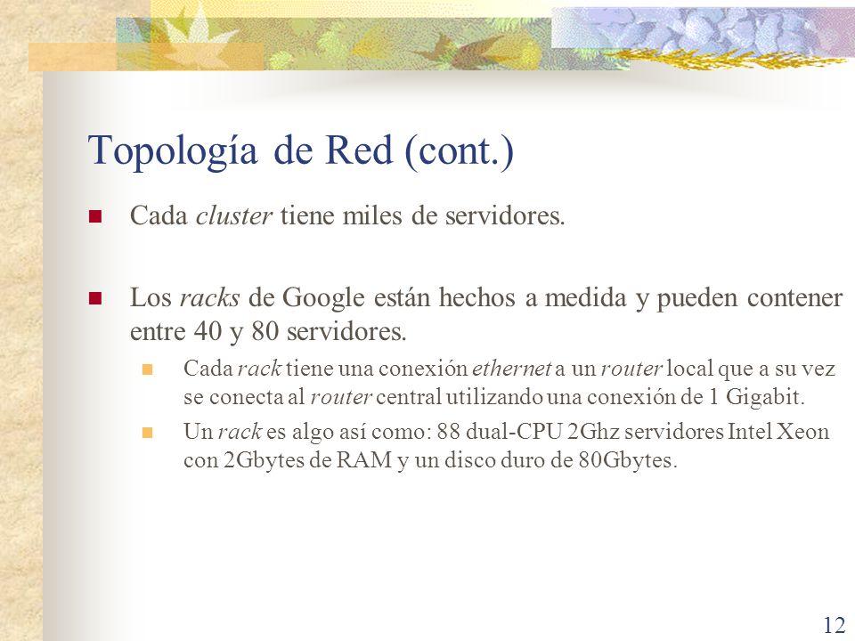 Topología de Red (cont.) Cada cluster tiene miles de servidores. Los racks de Google están hechos a medida y pueden contener entre 40 y 80 servidores.