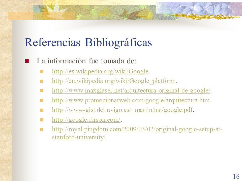 Referencias Bibliográficas La información fue tomada de: http://es.wikipedia.org/wiki/Google. http://es.wikipedia.org/wiki/Google http://en.wikipedia.