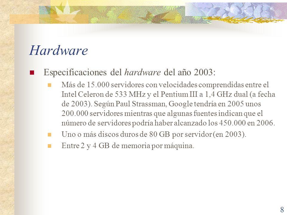 Hardware (cont.) El tamaño exacto de los centros de datos que Google utiliza es desconocido, y las cifras oficiales se mantienen poco precisas intencionadamente.