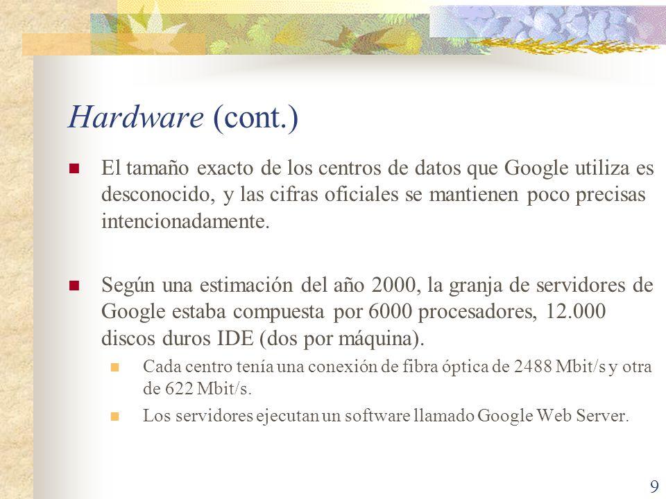 Hardware (cont.) El tamaño exacto de los centros de datos que Google utiliza es desconocido, y las cifras oficiales se mantienen poco precisas intenci