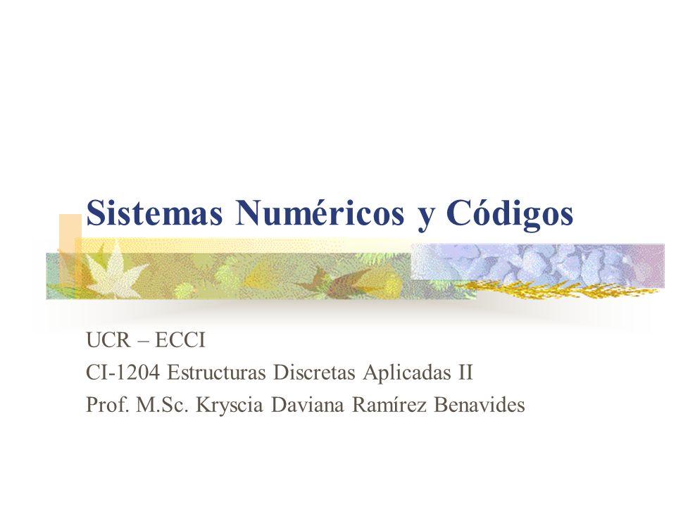 Sistemas Numéricos y Códigos UCR – ECCI CI-1204 Estructuras Discretas Aplicadas II Prof. M.Sc. Kryscia Daviana Ramírez Benavides
