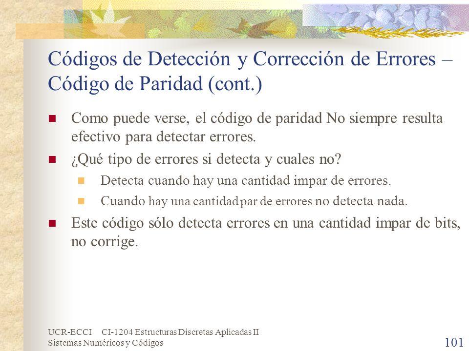 UCR-ECCI CI-1204 Estructuras Discretas Aplicadas II Sistemas Numéricos y Códigos Códigos de Detección y Corrección de Errores – Código de Paridad (con
