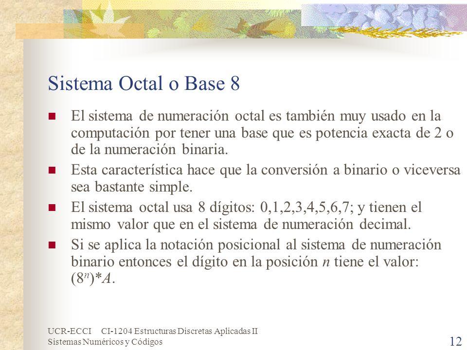 UCR-ECCI CI-1204 Estructuras Discretas Aplicadas II Sistemas Numéricos y Códigos 12 Sistema Octal o Base 8 El sistema de numeración octal es también m